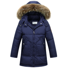 2016new children's thick winter jacket boys down jacket and long sections of-season special offer children's wear big fur collar