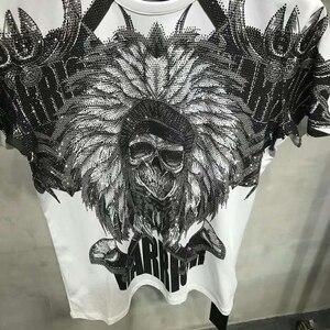 Image 5 - PP torba ambalaj! Marka giyim erkek yaz T Shirt erkek moda rahat tişörtleri taklidi hintliler baskılı nefes tişört