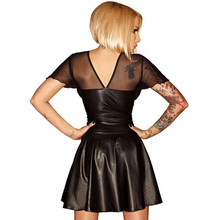 Mesh Vinyl Club Dresses New Summer Women Clubwear Faux Leather Petticoat Lack Kleid Black Short transparent robe