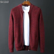 Sea Cloud Plus size Autumn brand men's clothing 100% cotton loose sweater cardigan stand collar Chinese style sweater M-6XL
