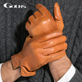Gours Зимний мужской Натуральная Кожа Перчатки 2016 Новый Бренд Сенсорный Экран Перчатки Мода Теплые Черные Перчатки Козьей Варежки GSM012