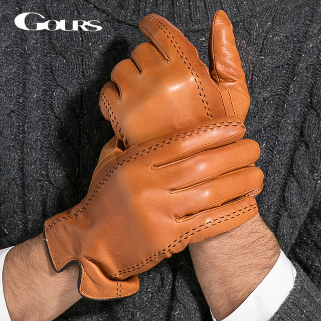 Gours Winter Men's Genuine Leather Gloves 2016 New Brand Touch Screen Gloves Fashion Warm Black Gloves Goatskin Mittens GSM012