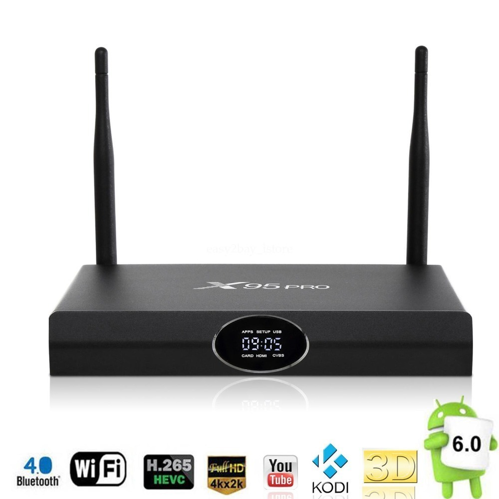X95 PRO Android 6.0 H.265 4K*2K UHD Smart PC TV BOX Quad Core 2G 16G Bluetooth 4.0 WIFI IPTV Fully Loaded Receiver mk903v rk3288 quad core de android 5 1 smart tv stick mini pc 2g 8g 4k 2k h 265 2 4ghz 5ghz dual wifi otg usb smart tv