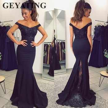Navy Blue Mermaid Evening Dress 2019 Elegant V-Neck Off The Shoulder Satin Long Prom Party Dresses Cheap Wedding Guest Gowns - DISCOUNT ITEM  20% OFF All Category