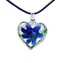 19618adb72a2 HiaDeLena de corazón de moda 4 colores de mezcla de cristal de Murano  colgantes de encantos de cristal de Murano para collar