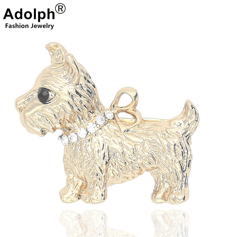 ADOLPH Jewelry High Quality Gold Color Metal Cute Dog Crystal Butterfly Brooch Pin Women Clothes Dress Wedding Bridal Brooch hOT