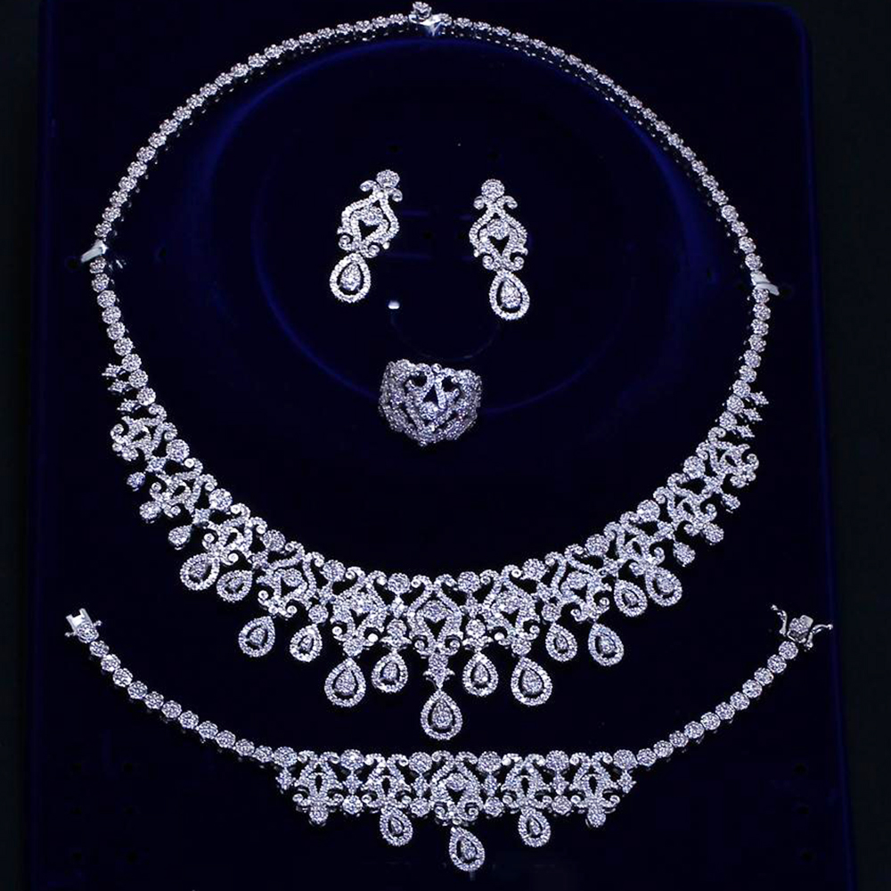 Beautiful wedding Luxury big 4pcs jewelry set Necklace+Earrings+Bracelet+Ring silver plate water drop large bridal jewelry sets цена 2017