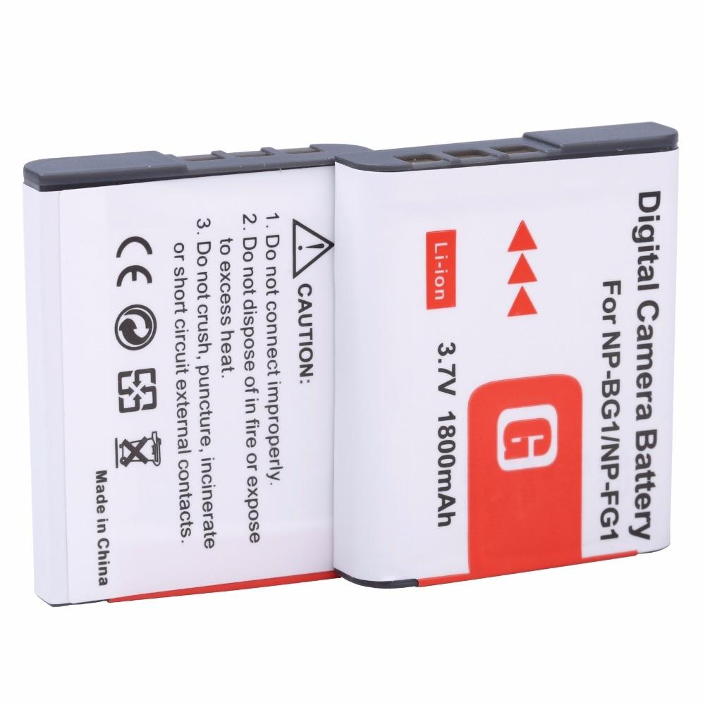 2Pcs NP-BG1 1800mah 3.7V High quality Digital Camera Battery for Sony NP-BG1 NP-FG1 DSC-H3 DSC-W70 BC-CSGE BC-CSGD W30