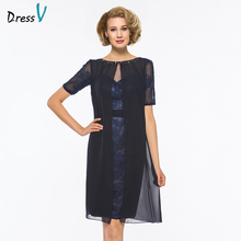 Dressv scoop neck short sleeves mother of bride dress with jacket beaidng knee length lace long mother evening gown custom