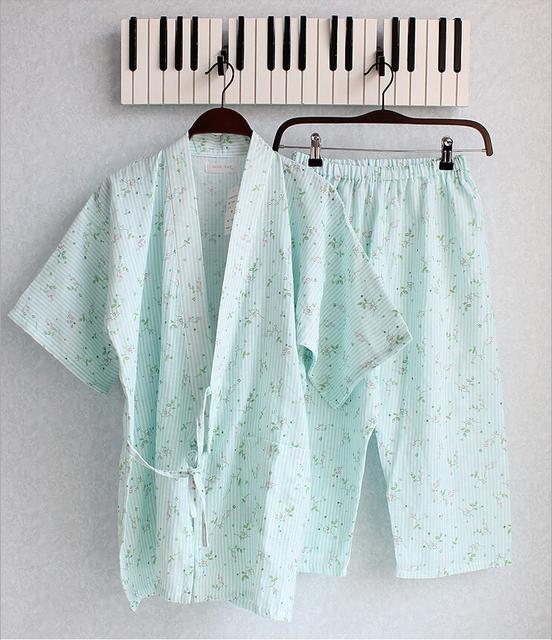Venda! verão Nova Roupa Em Casa de Estilo Japonês Kimono Pijamas Set Floral Bonito Pijama de Algodão para As Mulheres Nightwear