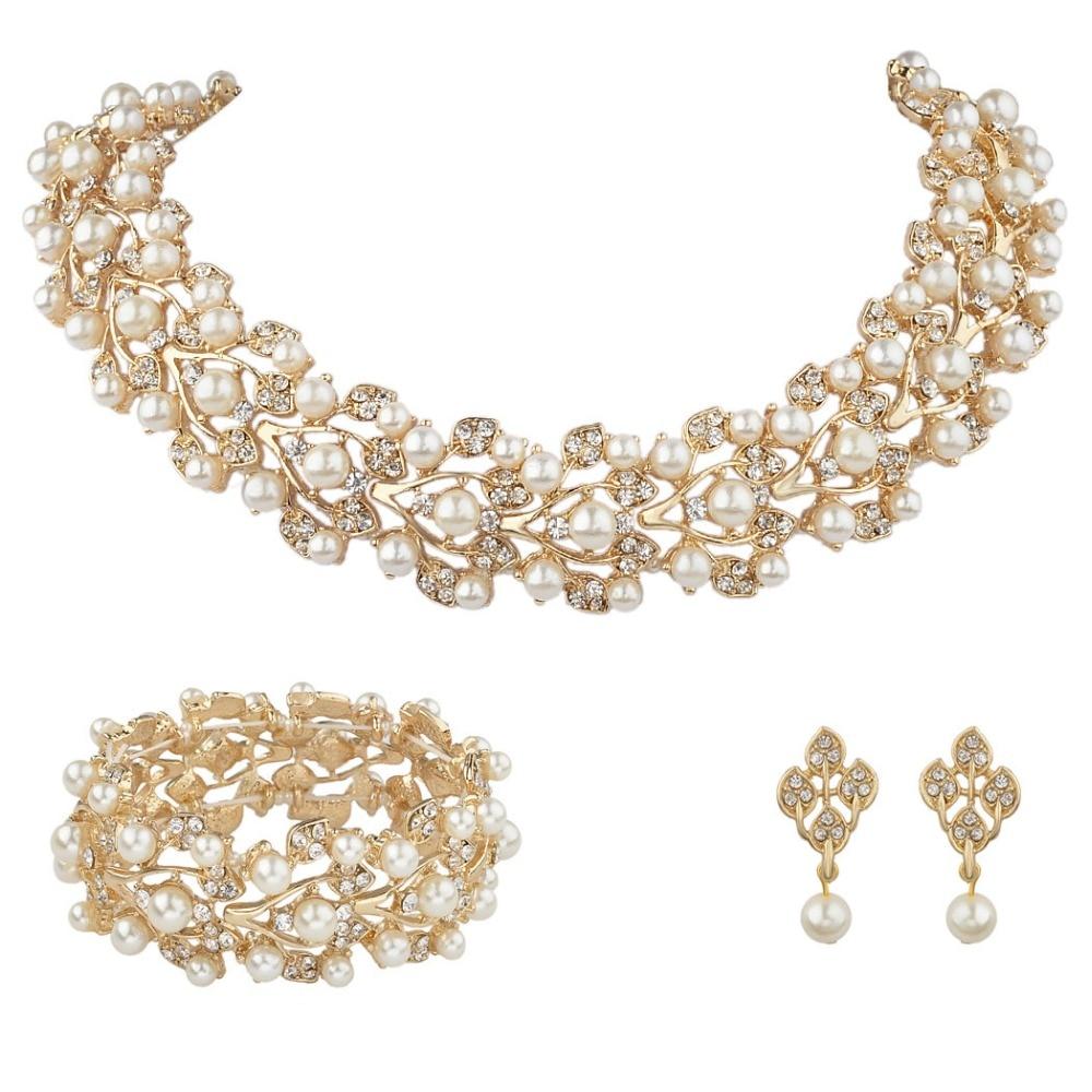 Bella Gold Tone Leaf Wedding Necklace Earrings Bracelet Jewelry Set Faux  Ivory Pearls Austrian Crystal Bridal