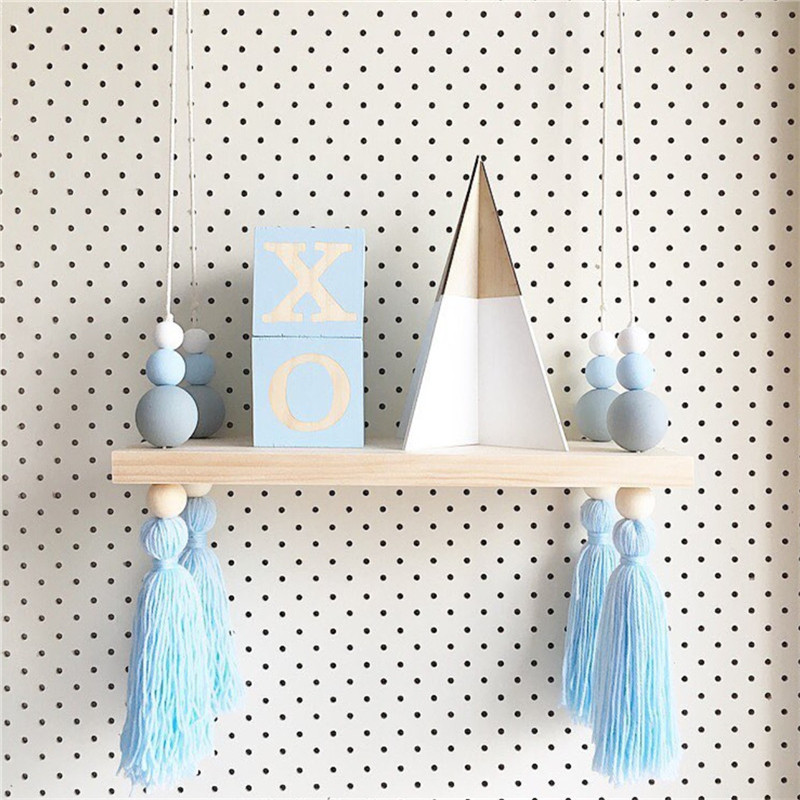 Baby Nordic Original Wooden Beads Wall Decorative Shelves With Pearl And Tassel Nursery Baby Room Clothes Organization Hooks