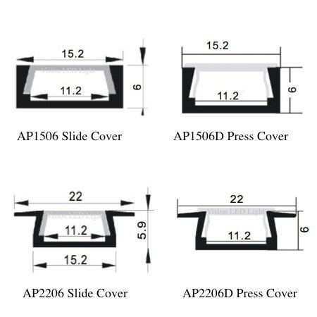 60m (30pcs) a lot, 2m per pcs, led aluminum profile for led strips AP1506 AP2206