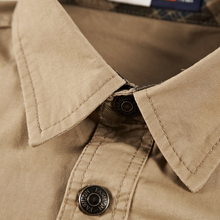 Men Military Shirt Cotton Mens Dress Shirts Long Sleeve Folding Fashion High Quality Breathable Business Multi Pocket Army Shirt