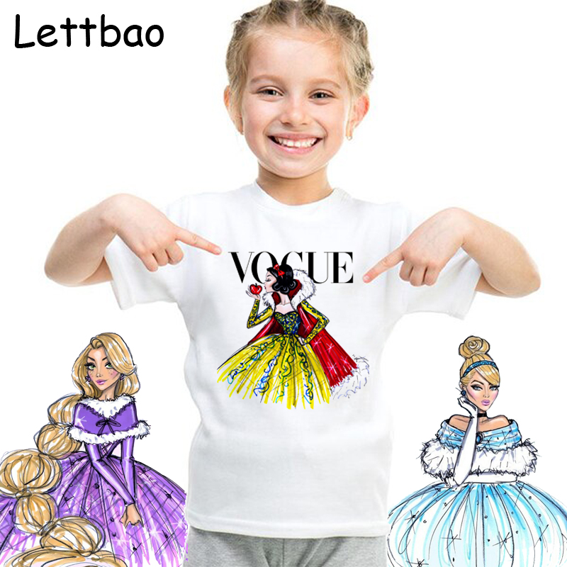 2-12T Snow White Alice VOGUE Princess Print Girls T Shirt Cartoon Funny Casual Kids Clothes Summer Harajuku Children's T-shirt