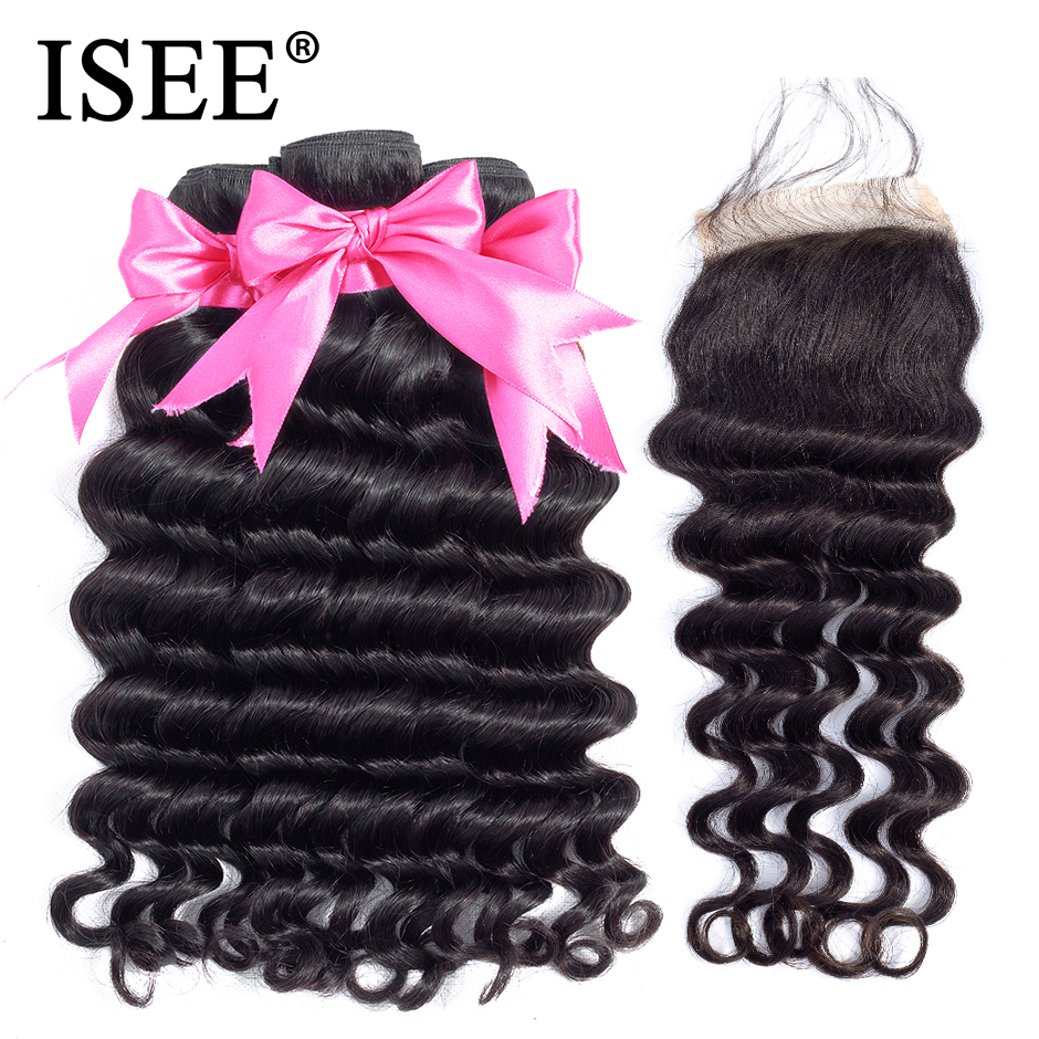 Loose Deep Bundles With Closure 100 Remy Human Hair Bundles With Closure ISEE HAIR 3 Bundles