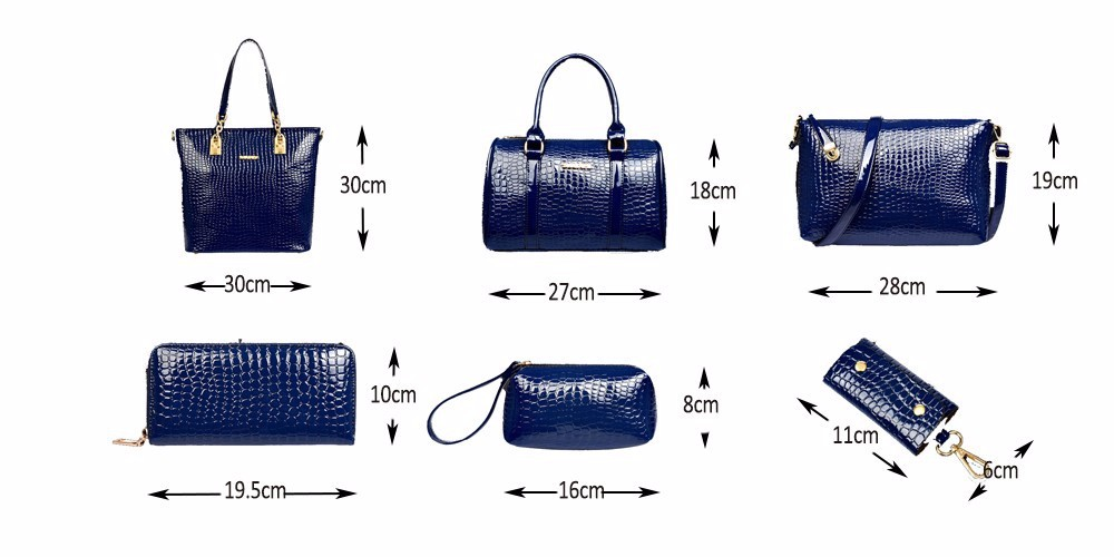6 PcsSet Luxury Bag Handbag Shoulder Bag Tote Key Wallet PU Leather Designed Top-handle Bag For Women Female Messenger Bag TTOU