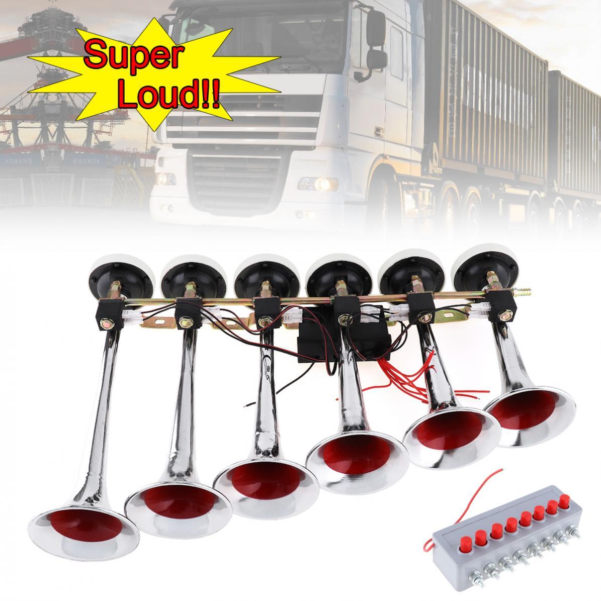 200DB Durable universel Super fort 8 sons alarme 6 voiture Auto trompette Air klaxon compresseur Kit pour moto bateau camion voiture