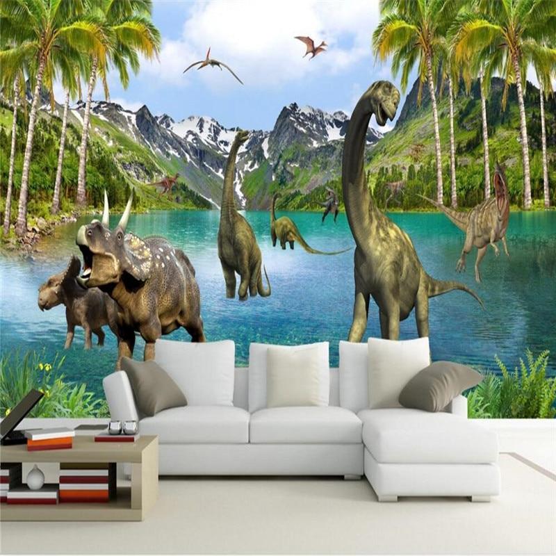 beibehang 3D Stereo Large Murals Jurassic era dinosaurs wall murals wallpaper for living room sofa bed bedroom wall paper