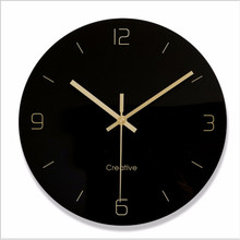 Minimalist black wall clock quartz watch Glass Wall Clocks Home Decoration Living Room Silent 12 inch