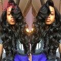 sky hair brazilian virgin body wave 3bundles/pcs human hair weft with 1pcs lace closure 4*4 natural black color brizilian wet