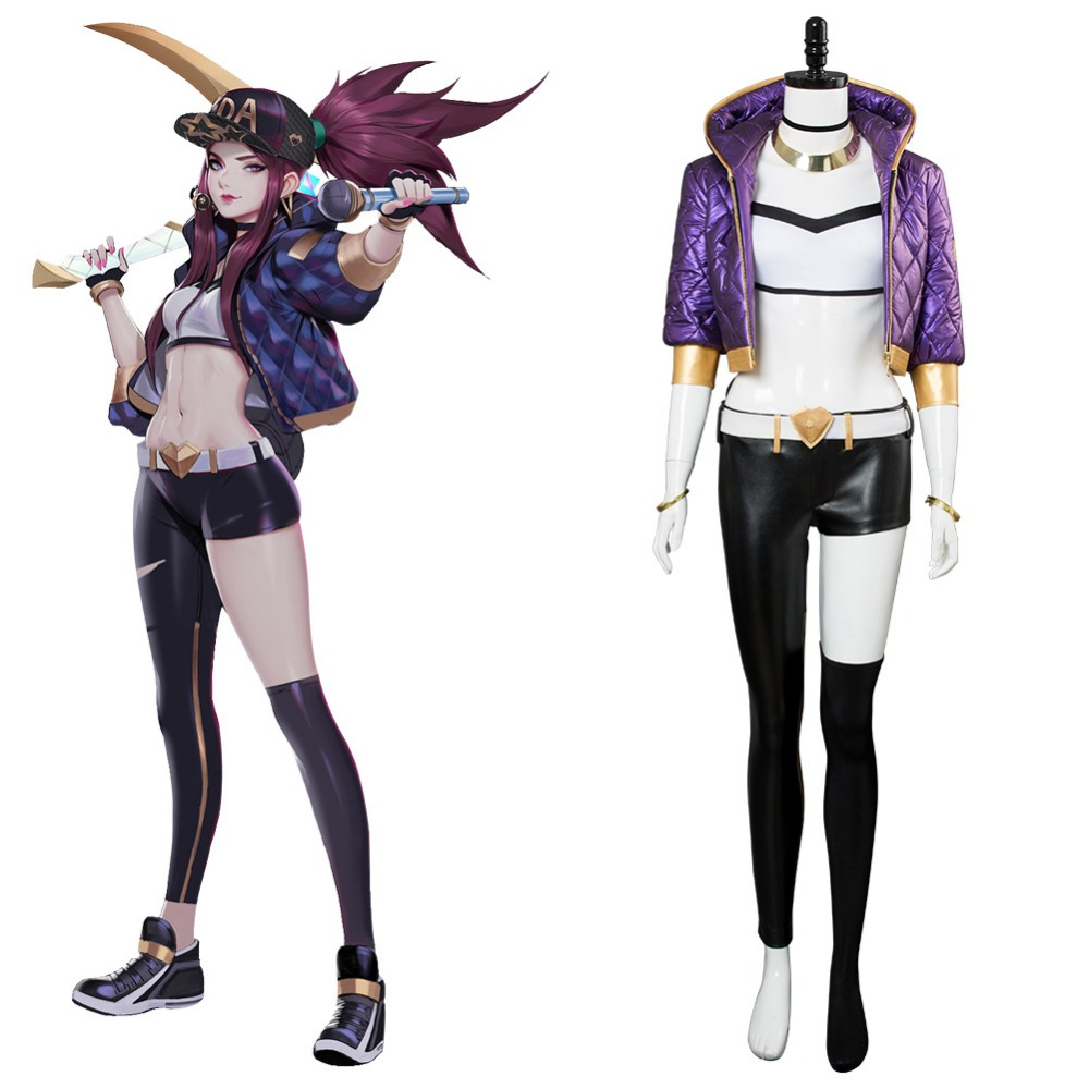 LOL Cosplay The Rogue Assassin K/DA LOL Akali Cosplay Costume Full Suit Halloween Carnival Costumes Tailor Made