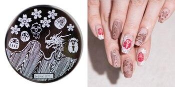 Nueva placa de estampado hehe71, vaso japonés Sakura Gragon, plantilla de sellos para decoración, sello de transferencia de imágenes