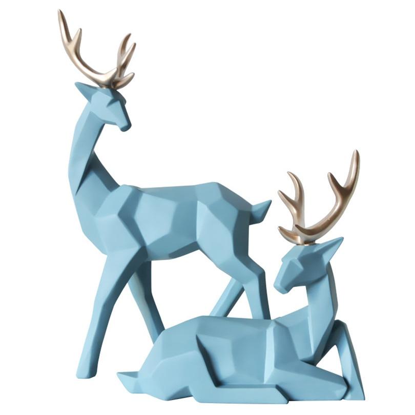 Ev ve Bahçe'ten Statü ve Heykelleri'de Geometrik Bir Çift Geyik Heykelleri yatak odası dekoru Aksesuarları Elk Heykeller El Sanatları Bahçe Ev Oturma Odası Heykeller Süs'da  Grup 3