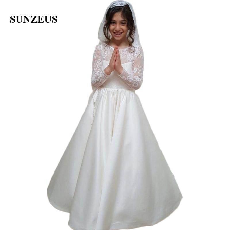 Satin   Flower     Girls     Dresses   with Sleeves A-Line Gorgeous Wedding Party   Dress   for Children Backless vestido de daminha SF44