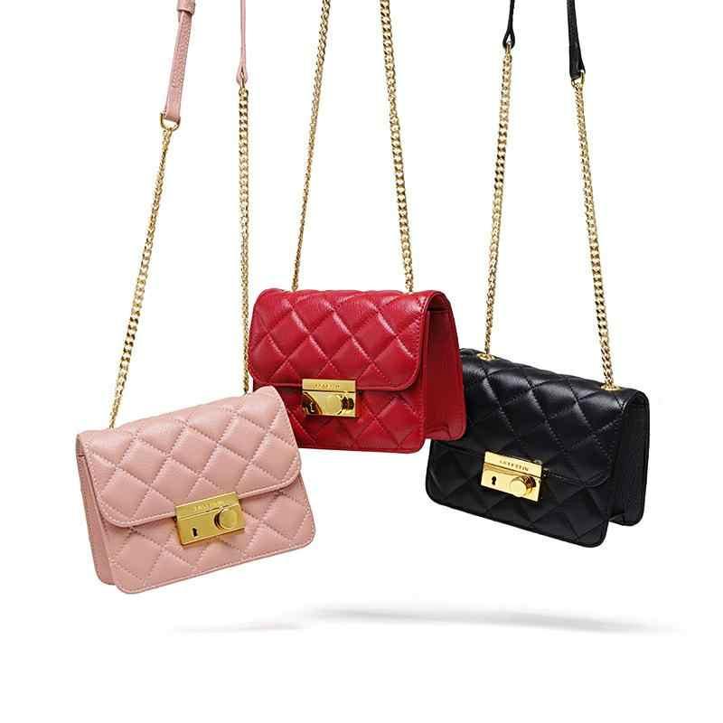 LAFESTIN женская сумка на плечо из натуральной кожи с металлической цепочкой дизайнерская сумка через плечо с клапаном Женская Высококачественная сумка