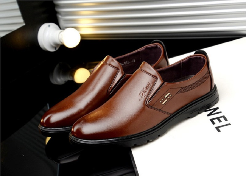 SpringAutum mens dress Business shoes casamento PU Leather Rubber Sole Breathable Waterproof Slip-On Hard-Wearing YC216 (8)