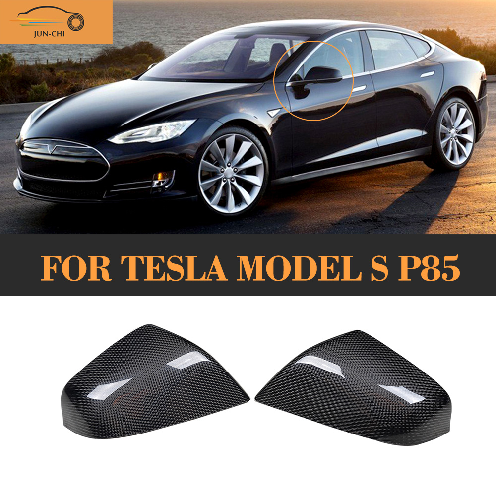 Carbon Fiber Mirror Covers for Tesla Model S P85 70D Sedan 2012 - 2015 Add on style