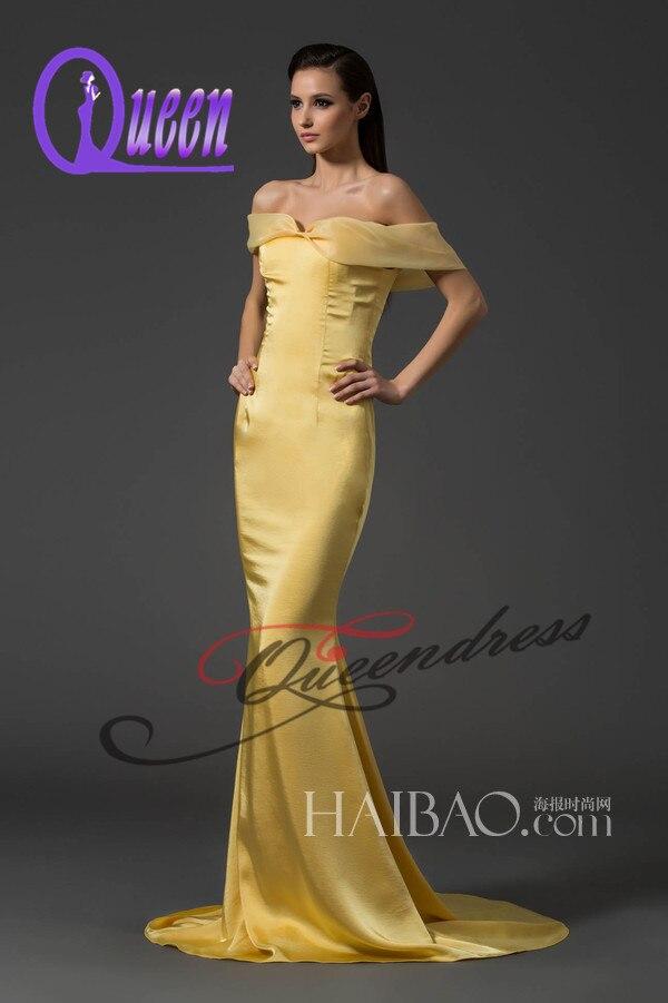 Cheap Elegant Off Shoulder Yellow Satin Mermaid Evening Dress-in ...