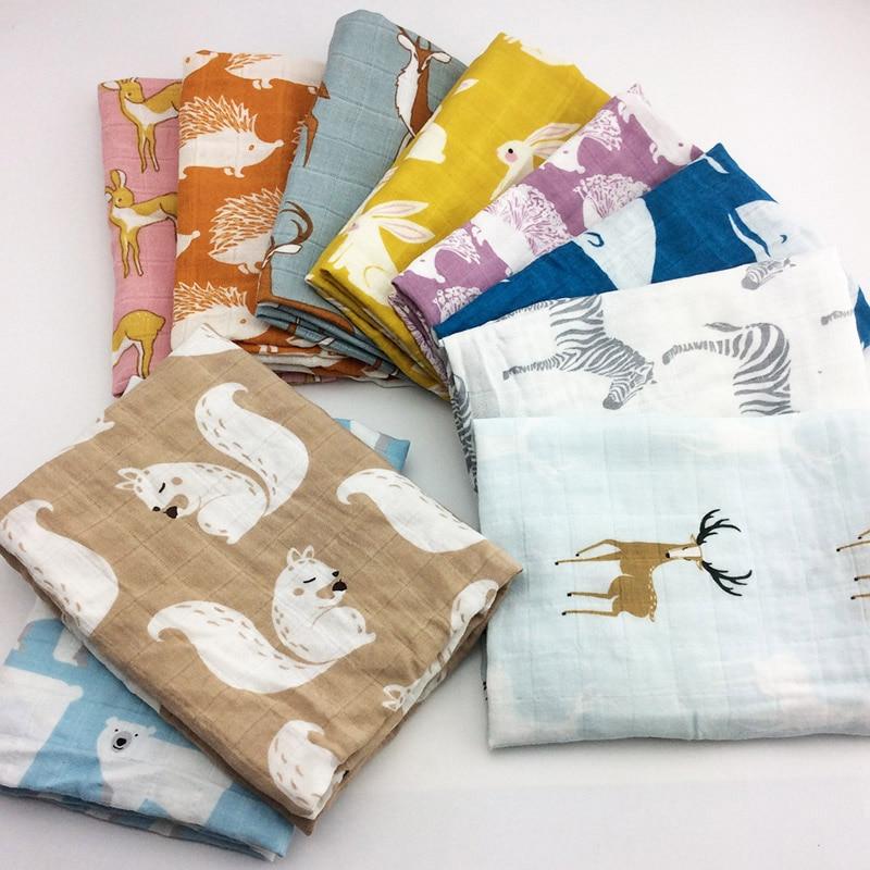Newborn Soft Organic Cotton Baby Blanket Muslin Swaddle