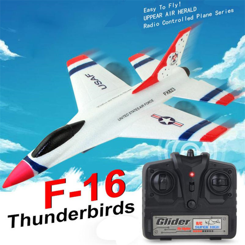 2018 New Original Wltoys FX-823 2.4G 2CH F16 Thunderbirds EPP Remote Control RC Glider Airplane with High Quality MM3