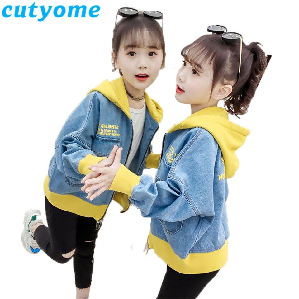Cutyome Toddler Girls Hooded Jeans Jacket 2019 Fashion Kids Zipper Patchwork Bomber Jackets Teenage Girls Spring Outerwear Coats