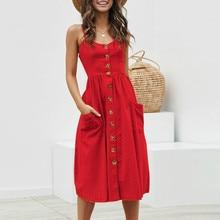 Summer Dress Women Sexy Spaghetti Strap Button Dress Sleeveless Cotton Casual Sun Dress button front sleeveless dress