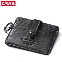 KAVIS Fashion Leather Credit Card Wallet Black Men Credit ID Card Holder Small Wallet Slim Thin