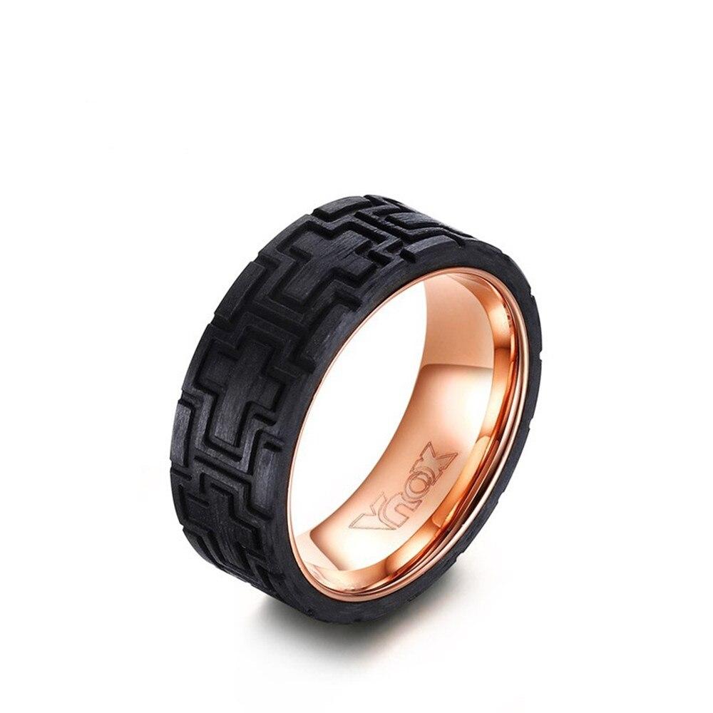 8mm Carbon Fiber Cross Ring Black + Rose Gold Man(china (mainland))