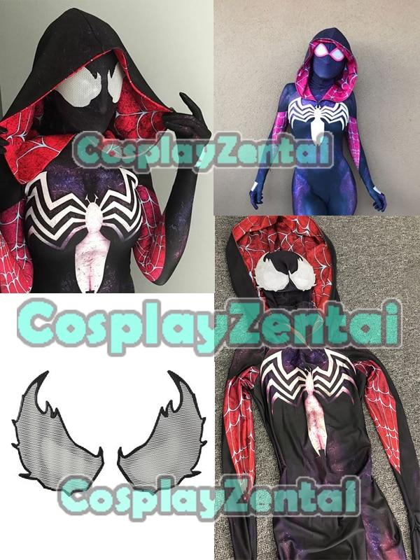 Spidergirl Gwenom Cosplay Costume Hooded Zentai Venom Symbiote Spider Gwen Stacy 3D Print Halloween Costumes for woman