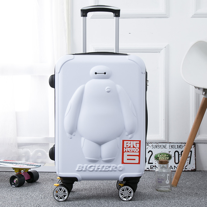 Children Luggage Trolley Case Cartoon Boarding-Box 3D Baymax Kid 20/24inch