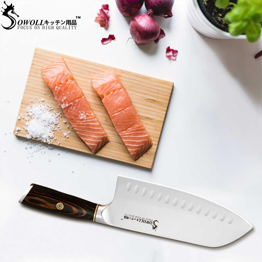 Sowoll 7.5 inç doğrama paslanmaz çelik mutfak bıçağı renk ahşap saplı balta Santoku bıçak kemik biftek et balık pişirme aracı