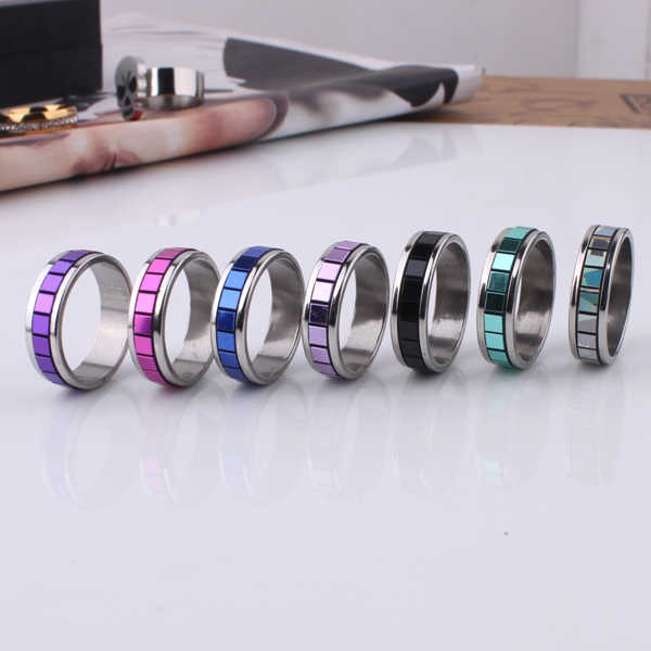 mix color gradient Lattice 316L Stainless Steel finger ring jewelry  wholesale