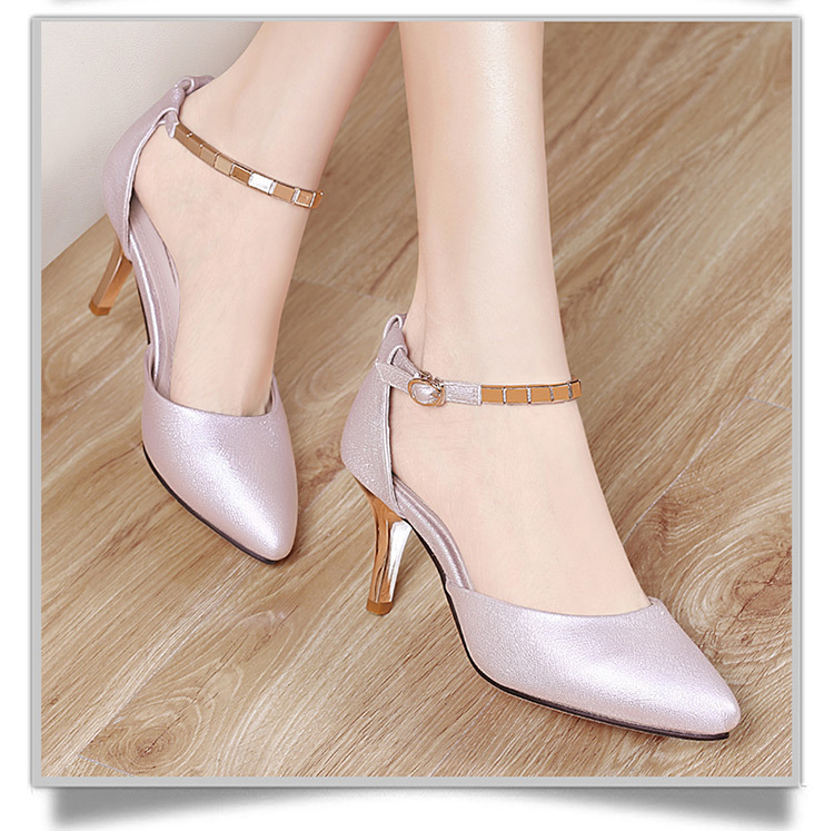 8aad295aad6 Hosteven Merek Sepatu Wanita Pompa Pink High Heels 7 CM Sepatu ...