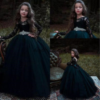 2019 Ball Gown Flower Girl Dresses Black and Dark Green Long Sleeves With Beaded Sashes Girls Pageant Party Gown