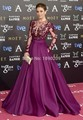 See Through 2017 Formal Celebrity Dresses A-line Long Sleeves Purple Appliques Beaded Long Evening Dress Red Carpet Dresses