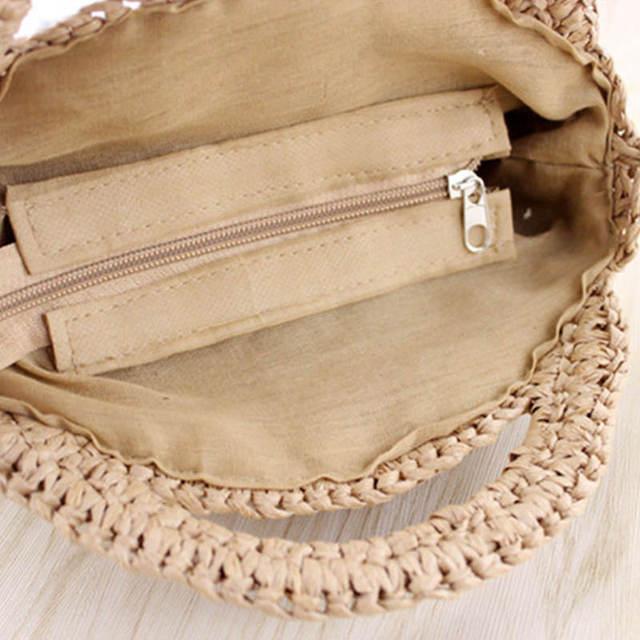 FGGS Round Paper rope Beach Bag Summer mini Vintage Handmade Crossbody straw Bag Girls Circle Rattan bag Small Bohemian Shoulder 5