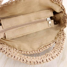 FGGS Round Paper rope Beach Bag Summer mini Vintage Handmade Crossbody straw Bag Girls Circle Rattan bag Small Bohemian Shoulder