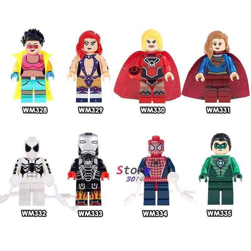 Único Jubileu Starfire Lanterna Verde Vermelho Supergirl Hotrod Ferro Ironman blocos de construção de tijolos brinquedos para as crianças Do Homem Aranha kits