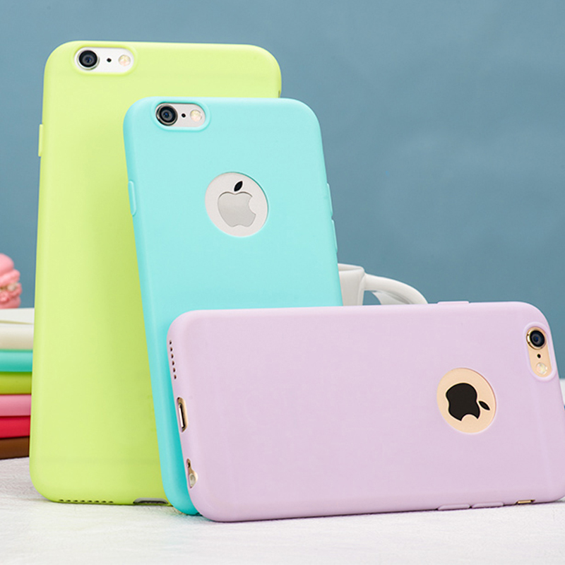 low priced 0423a 307f5 With Logo Hole Candy Color Soft TPU Silicon Iphone 5S Fundas Ultra Thin  Phone Cases Cover For Iphone5 5 SE